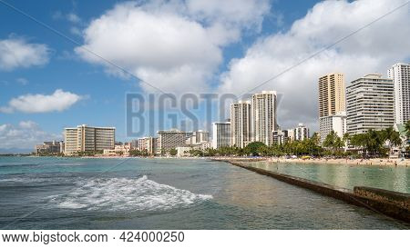 Busy Coast With Hotels And Sandy Beach, Shot On Waikiki Beach, Honolulu, Hawaii, Usa