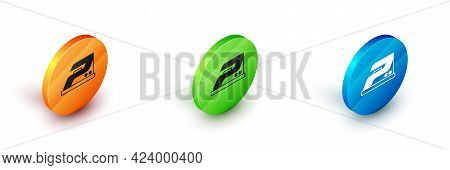 Isometric Electric Iron Icon Isolated On White Background. Steam Iron. Circle Button. Vector