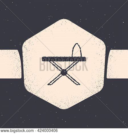 Grunge Electric Iron And Ironing Board Icon Isolated On Grey Background. Steam Iron. Monochrome Vint