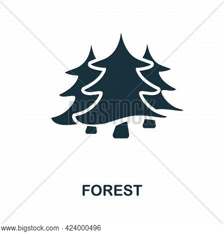 Forest Flat Icon. Colored Filled Simple Forest Icon For Templates, Web Design And Infographics