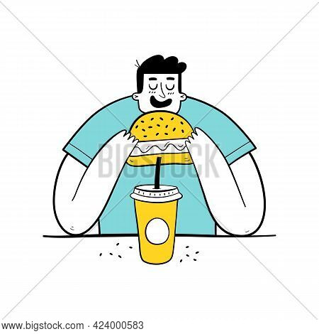 Hungry Man Eating Burger And Drinking Soda. Overweight Teenager Eating Fast Food.