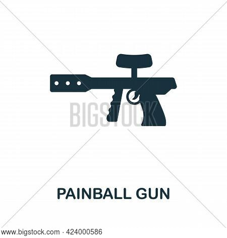 Paintball Gun Flat Icon. Colored Filled Simple Paintball Gun Icon For Templates, Web Design And Info