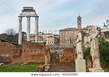 Temple Of Castor And Pollux And Antique Statues At A Temple Of The Vestal Virgins