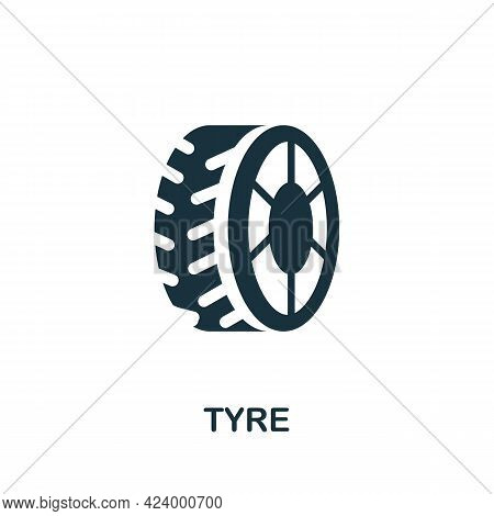 Tyre Flat Icon. Colored Filled Simple Tyre Icon For Templates, Web Design And Infographics