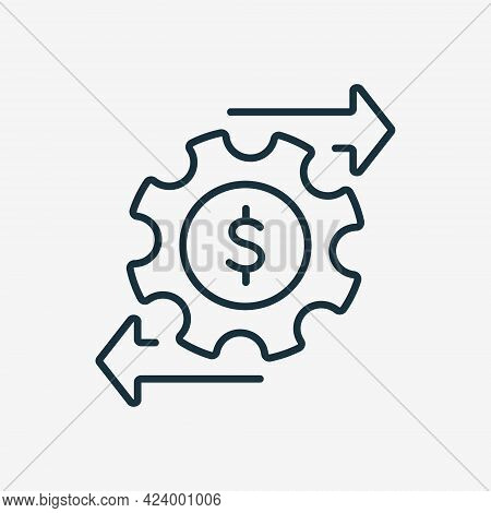 Financial Money Management Line Icon. Operating Cost Symbol. Gear And Arrow Line Icon. Process Of Ma