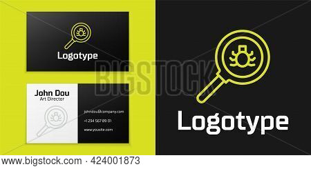 Logotype Line Flea Search Icon Isolated On Black Background. Logo Design Template Element. Vector