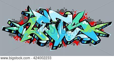 Outdoor Abstract Urban Graffiti Street Art Word Lets Lettering Vector
