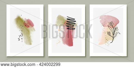 Green And Pink Abstract Watercolor Compositions. Set Of Soft Color Painting Wall Art For House Decor