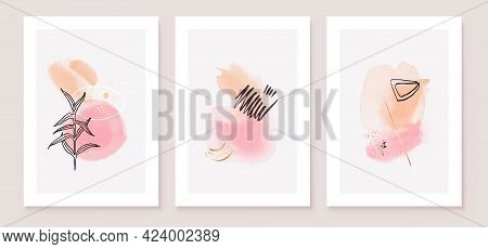 Pink And Peach Abstract Watercolor Compositions. Set Of Soft Color Painting Wall Art For House Decor