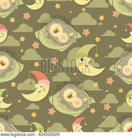 Hedgehog. Sweet Dreams. Vector Animals Patterns Baby Nursery Art.  Cute Sleeping Hedgehog In Sky Bac