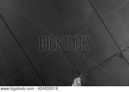 Black Textured Torn Wrinkled Folded Paper Surface