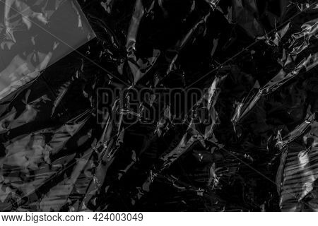 Black Crushed Wrinkled Dark Plastic