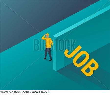 Job Search Concept - Unemployed Person Looking For Job Word That Hides Behind The Wall. Isometric Ve