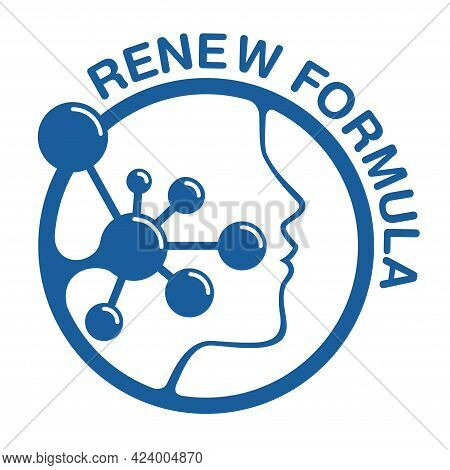 Skin Renew Formula Flat Icon - Emblem For Anti-age And Anti Wrickles Cosmetics Marking. Molecular St