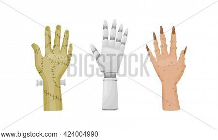 Hands And Paws Of Fantastic Creatures And Monsters Vector Set