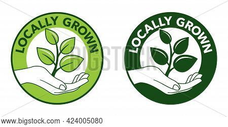 Locally Grown Emblem In 2 Colors And Monochrome - Eco-friendly Emblem For Packaging Of Regional Farm