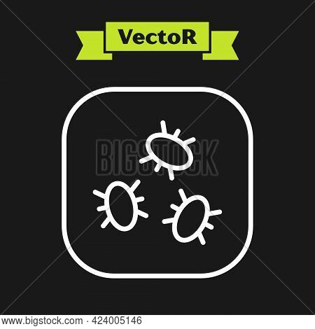 White Line Bacteria Icon Isolated On Black Background. Bacteria And Germs, Microorganism Disease Cau