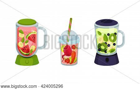 Smoothie In Blender And Glass With Straw With Different Ingredients Mixing Together Vector Set