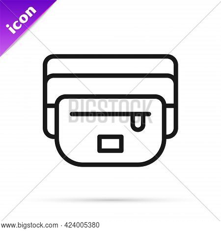 Black Line Waist Bag Of Banana Icon Isolated On White Background. Vector