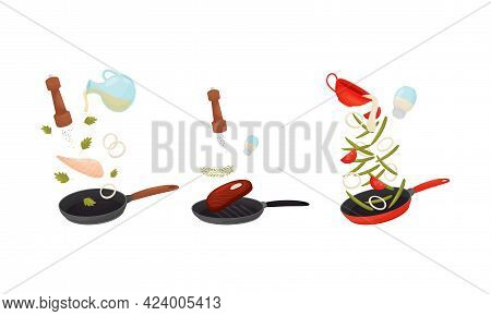 Food Preparation With Floating Meat Slab And Vegetables Cooking On Frying Pan Vector Set