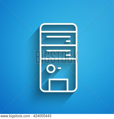 White Line Computer Icon Isolated On Blue Background. Pc Component Sign. Long Shadow. Vector