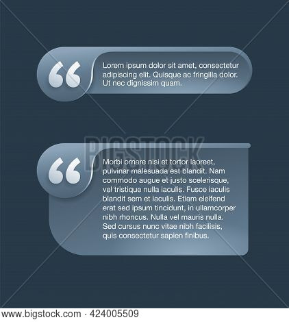 Quotes Template, Wide And Narrow - Flat Decorative Rounded Text Block. Creative Quotation Marks Andc