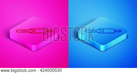 Isometric Line Audio Jack Icon Isolated On Pink And Blue Background. Audio Cable For Connection Soun