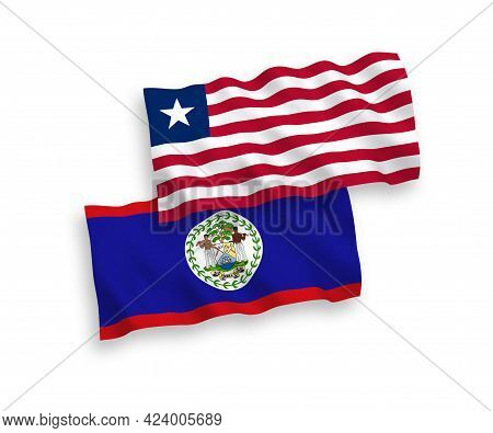 National Fabric Wave Flags Of Belize And Liberia Isolated On White Background. 1 To 2 Proportion.