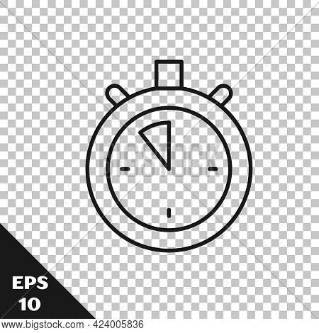 Black Line Stopwatch Icon Isolated On Transparent Background. Time Timer Sign. Chronometer Sign. Vec