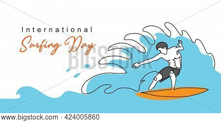 International Surfing Day Simple Vector Banner, Poster, Background. One Continuous Line Drawing Of S