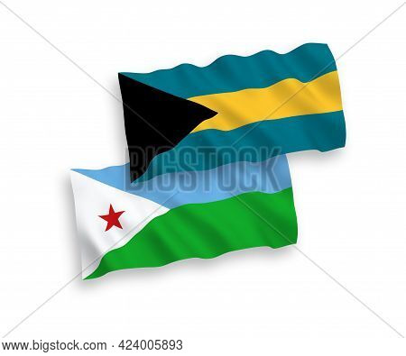 National Fabric Wave Flags Of Republic Of Djibouti And Commonwealth Of The Bahamas Isolated On White