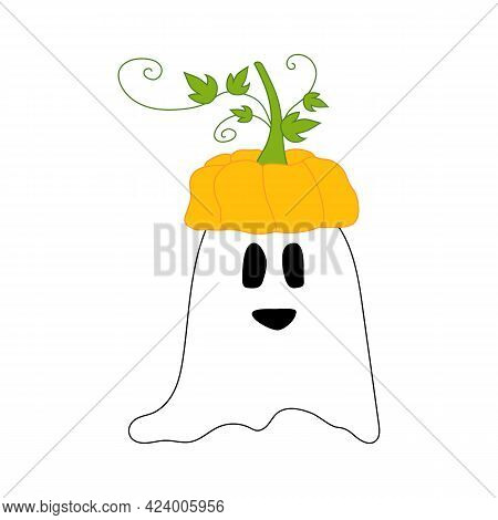 Cute Halloween Character - Ghost With Pumpkin On His Head. Can Be Used As Sticker, Vector Isolated I