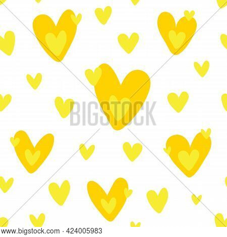Cute Seamless Pattern With Orange Yellow Hearts - For Fabric, For Textile, Romantic Pattern With Cut