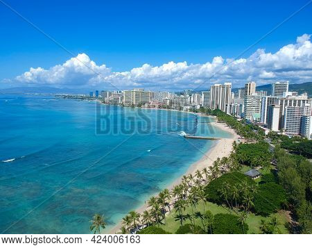 Panoramic Aerial Views Of Waikiki Beach Honolulu Hawaii