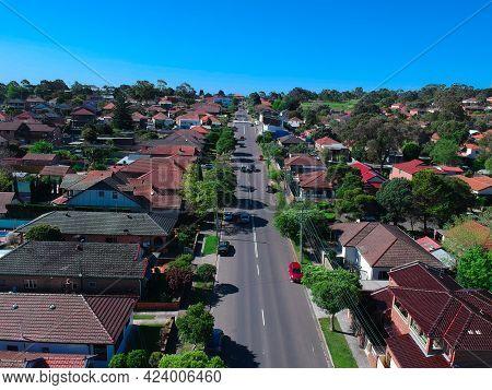 Panoramic Aerial Drone View Of Western Suburban Sydney Nsw Australia