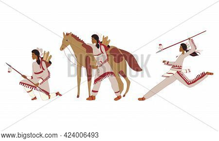 Red Indians Wearing Broad Clothing With Feathers Vector Set