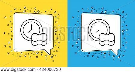 Set Line Washing Dishes Icon Isolated On Yellow And Blue Background. Cleaning Dishes Icon. Dishwashe