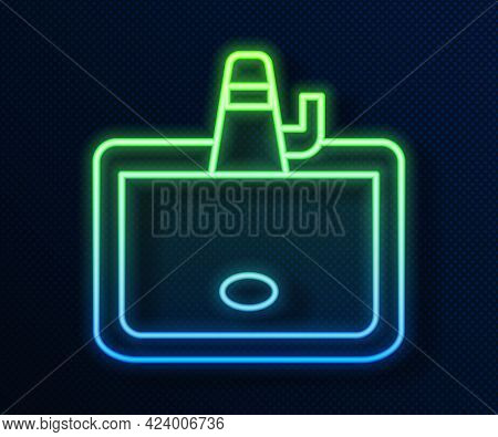 Glowing Neon Line Washbasin With Water Tap Icon Isolated On Blue Background. Vector