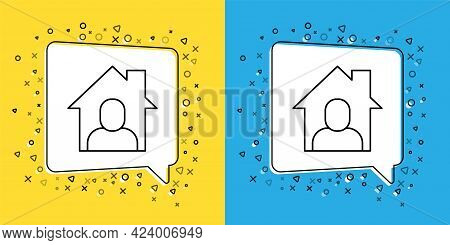 Set Line Online Working Icon Isolated On Yellow And Blue Background. Freelancer Man Working On Lapto