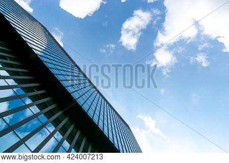 Office Buildings. Finance Corporate Architecture City In Abstract Blue Sky With Nature Cloud In Sunn