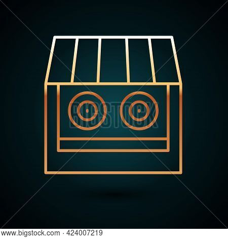 Gold Line Shooting Gallery Icon Isolated On Dark Blue Background. Shooting Range. Vector