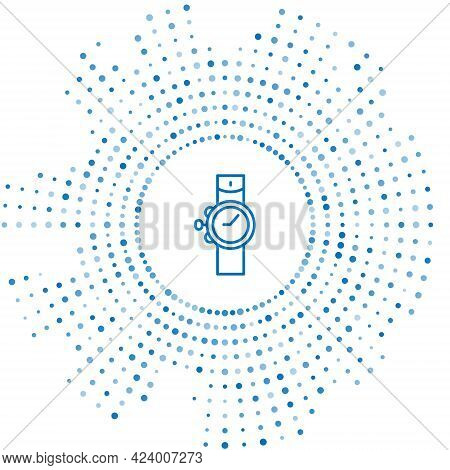 Blue Line Wrist Watch Icon Isolated On White Background. Wristwatch Icon. Abstract Circle Random Dot