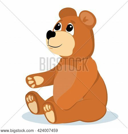 Vector Illustration Of A Smiling Teddy Bear Isolated On A White Background