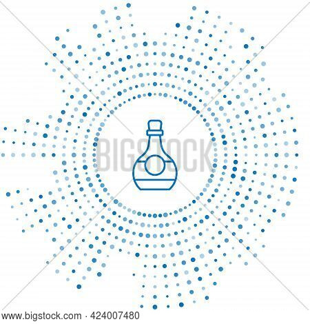 Blue Line Bottle Of Cognac Or Brandy Icon Isolated On White Background. Abstract Circle Random Dots.