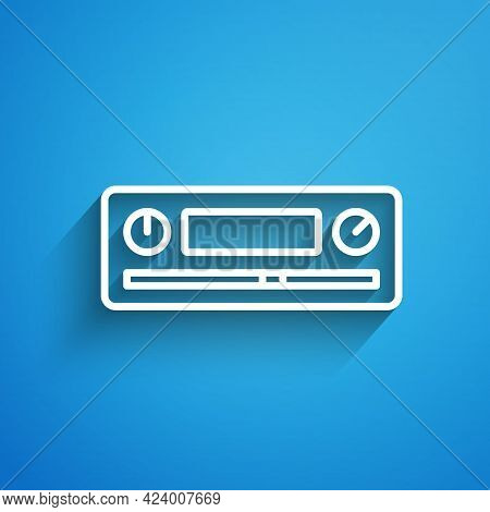 White Line Car Audio Icon Isolated On Blue Background. Fm Radio Car Audio Icon. Long Shadow. Vector