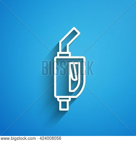 White Line Gasoline Pump Nozzle Icon Isolated On Blue Background. Fuel Pump Petrol Station. Refuel S