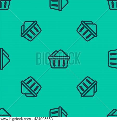 Blue Line Plastic Basin With Soap Suds Icon Isolated Seamless Pattern On Green Background. Bowl With