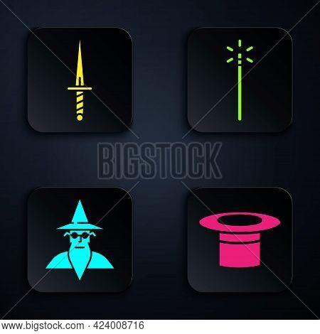 Set Magician Hat, Dagger, Wizard Warlock And Magic Wand. Black Square Button. Vector