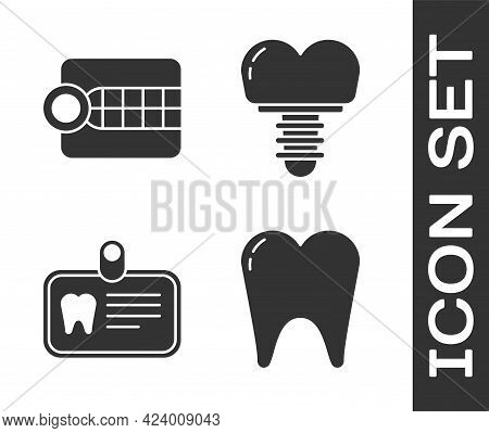 Set Tooth, Dentures Model, Id Card With Tooth And Dental Implant Icon. Vector