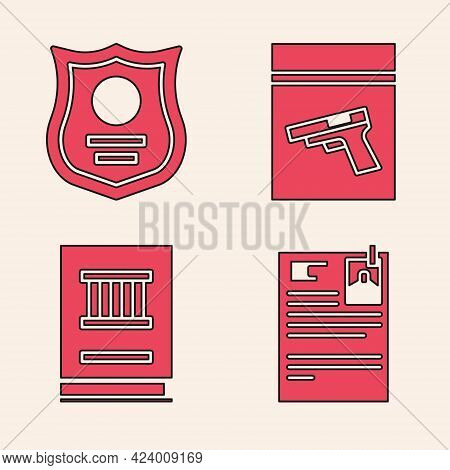 Set Lawsuit Paper, Police Badge, Evidence Bag And Pistol Or Gun And Law Book Icon. Vector